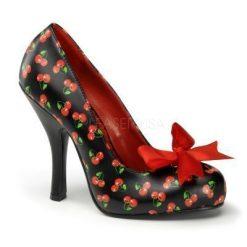 Zapato linea retro con estampado de cerezas y lazo en satén