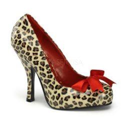 Zapato linea retro con estampado de leopardo y lazo en satén
