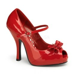 Zapato linea retro con punta abierta y lazo