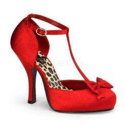 Elegante zapato pin up en satén con tira en el tobillo