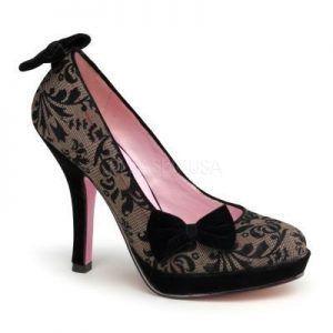 Zapato linea retro con estampado floral y lazos