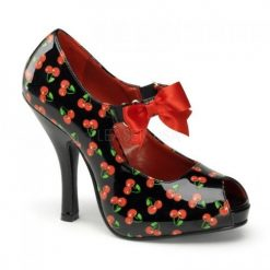 Zapato retro estampado cerezas y lazo en satén