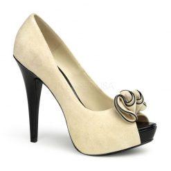 Zapato estilo retro con punta abierta y detalle frontal en forma de flor