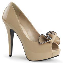 Zapato estilo retro con punta abierta y detalle frontal en forma de lazo