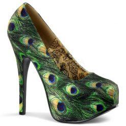 Originales zapatos Bordello de Pleaser con estampado de pavo real