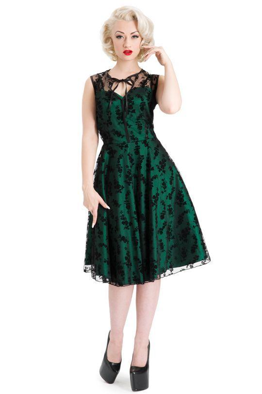 vestido de fiesta retro años 50 verde