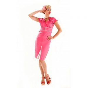 foto vestido años 50 rosa