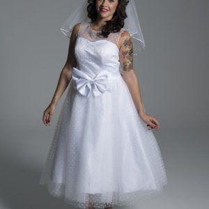 Vestido de novia tul de lunares años 50
