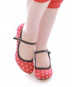 zapato vintage rojo lunares