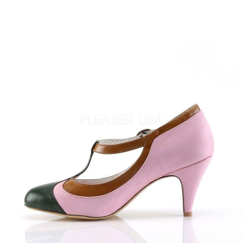 zapatos deportivos 7490e f6bc5 Zapatos moda Pin Up de tacón bajo y combinado en tonos pastel