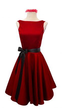 Vestido vuelo años 50 corte clásico tejido satén deluxe